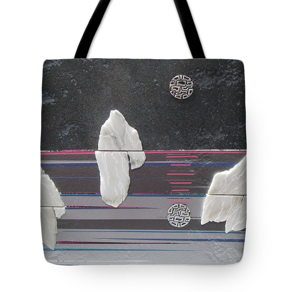 Assemblage Tote Bag featuring the mixed media Ice Bergs by Elaine Booth-Kallweit