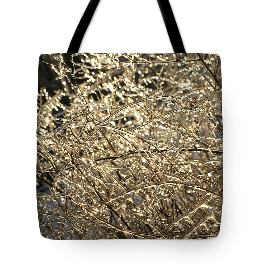 Burst Tote Bag featuring the photograph Ice Burst by Shannon Workman