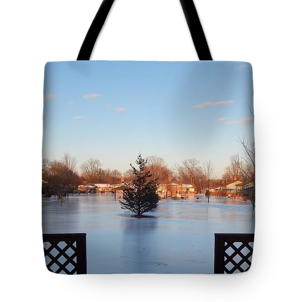 End Of Day Tote Bag featuring the photograph Satin Ice Covered Snow by Susan Wyman