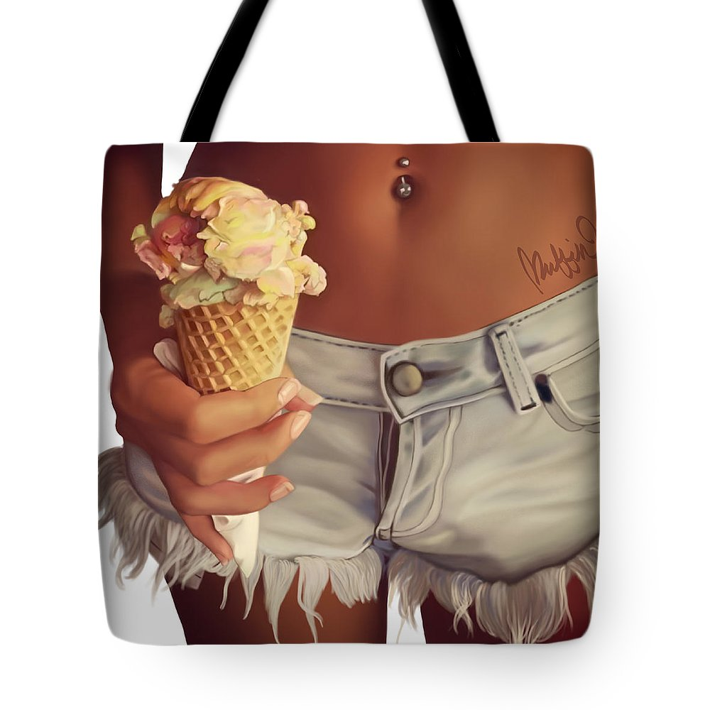 Photo Realism Tote Bag featuring the digital art Ice Cream Daydreams by Muffin Jones