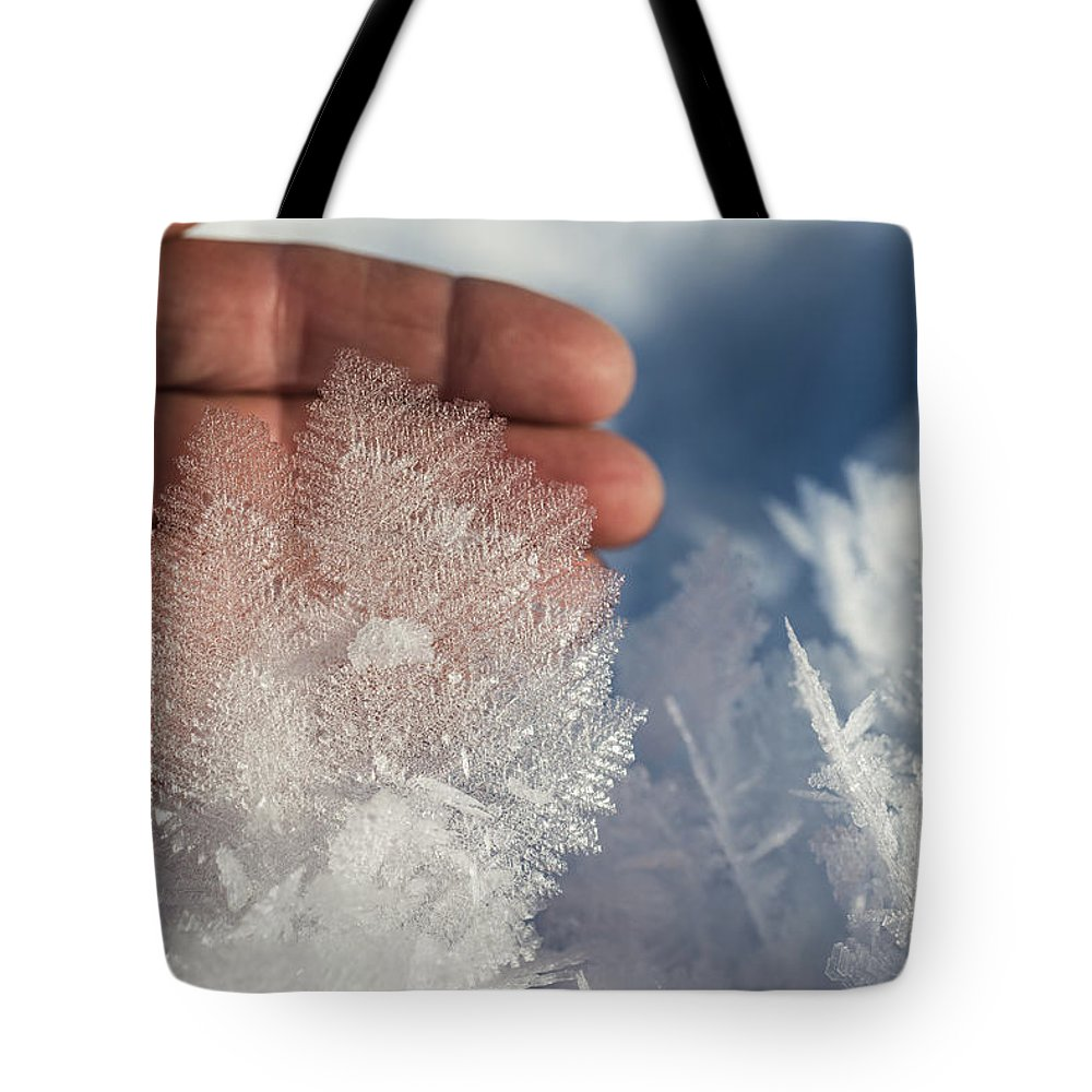Ice Tote Bag featuring the photograph Ice Feathers by Ted Raynor