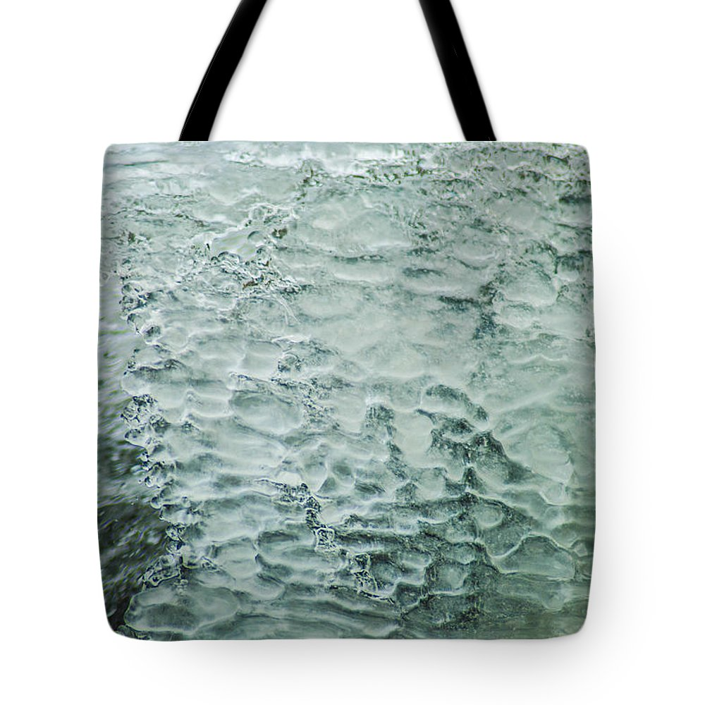 Optical Playground By Mp Ray Tote Bag featuring the photograph Ice Formations IIi by Optical Playground By MP Ray