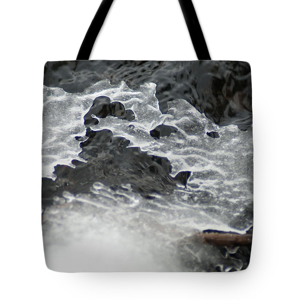 Optical Playground By Mp Ray Tote Bag featuring the photograph Ice Formations Viii by Optical Playground By MP Ray