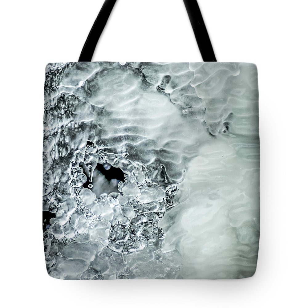 Optical Playground By Mp Ray Tote Bag featuring the photograph Ice Formations X by Optical Playground By MP Ray