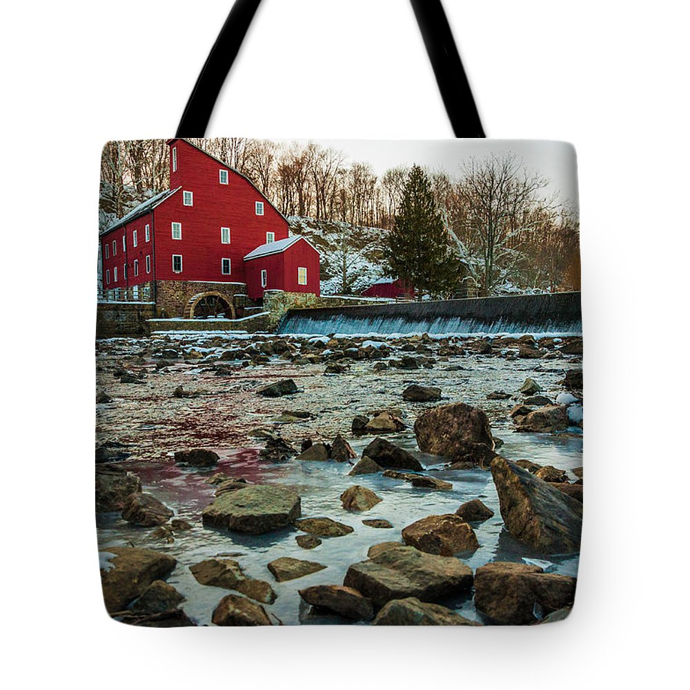 Clinton Tote Bag featuring the photograph Ice Mill by Kristopher Schoenleber