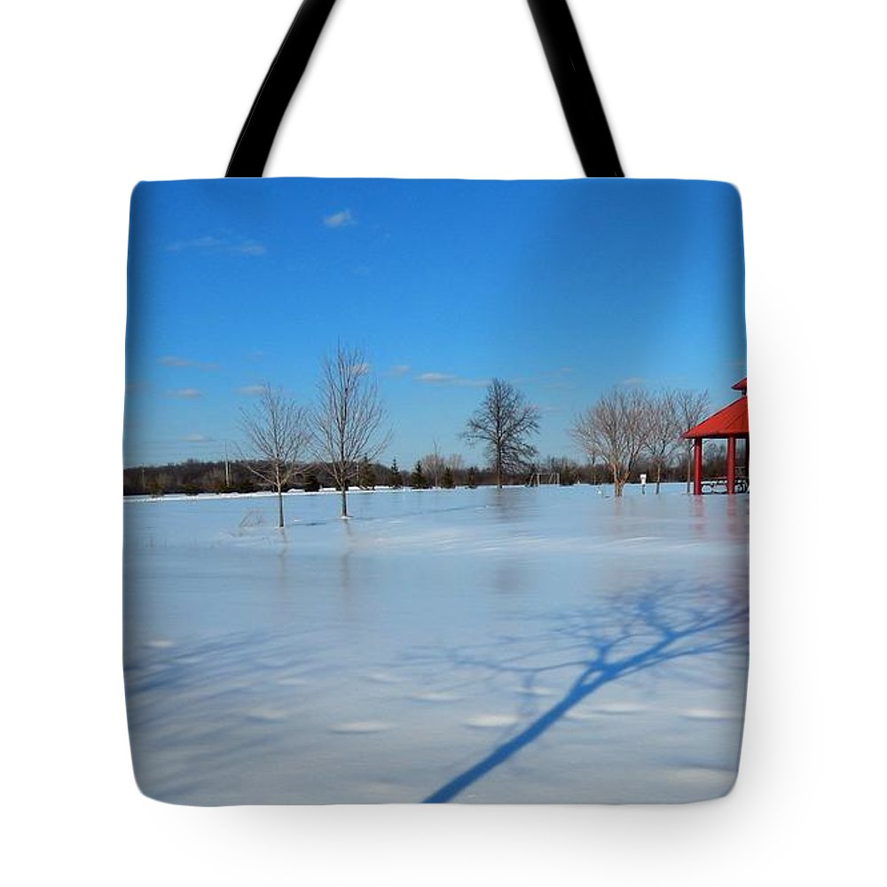 Deep Tote Bag featuring the photograph Ice On Snow by Susan Wyman