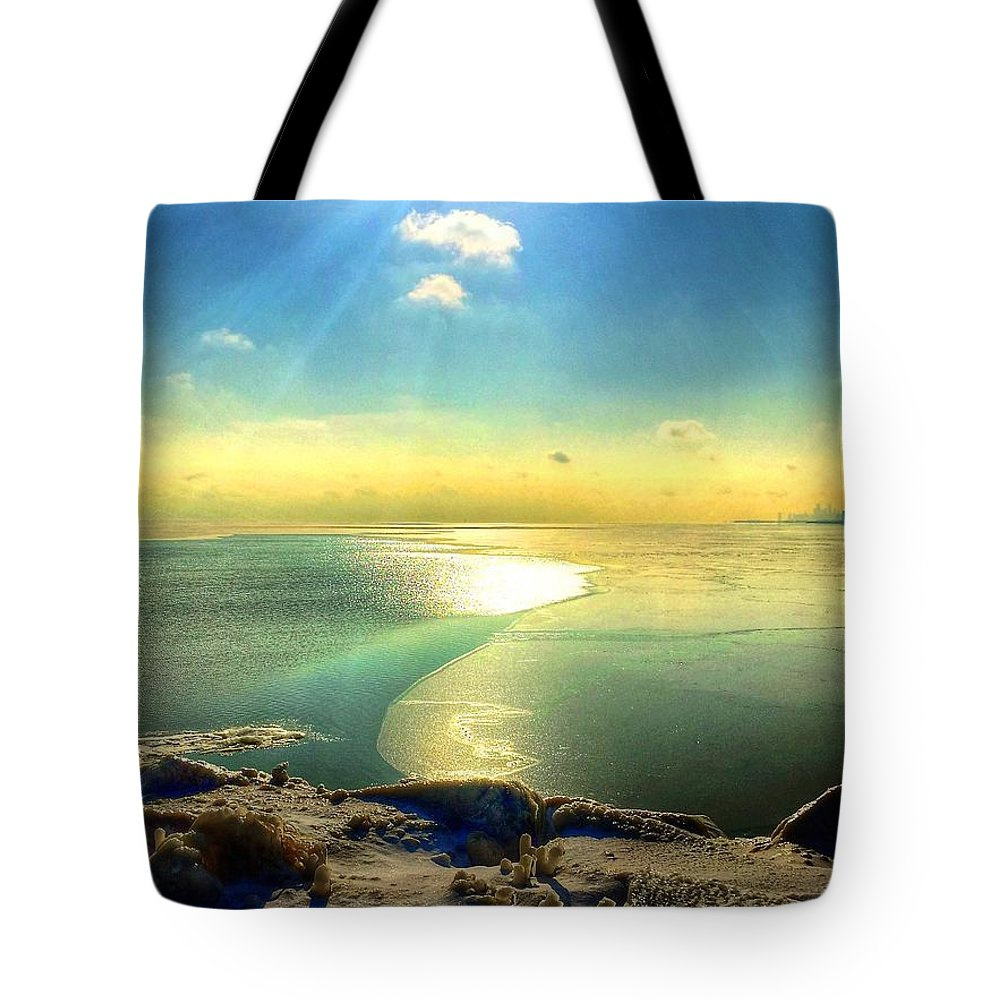 Ice Tote Bag featuring the photograph Ice Path by Louis Perlia