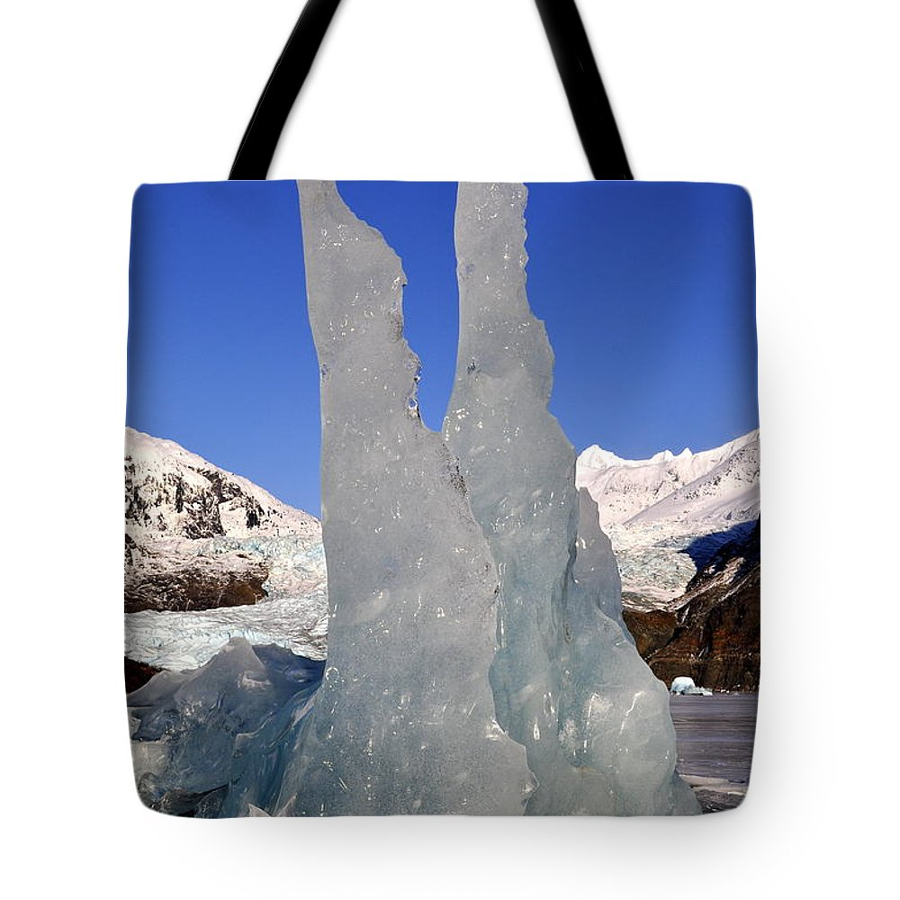 Iceberg Tote Bag featuring the photograph Ice Pinnacles by Cathy Mahnke