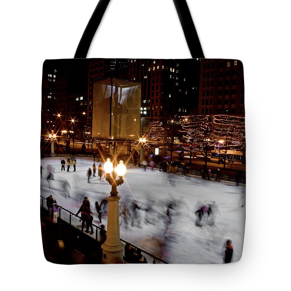 Chicago Tote Bag featuring the photograph Ice Rink In Chicago by John McGraw