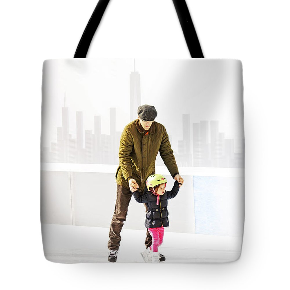 Father Tote Bag featuring the photograph Ice Skating by Nishanth Gopinathan