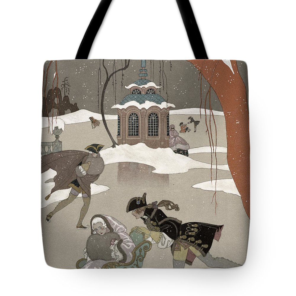 Pond Tote Bag featuring the painting Ice Skating On The Frozen Lake by Georges Barbier