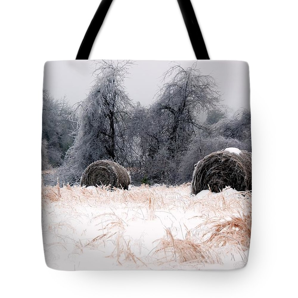 Ice Tote Bag featuring the photograph Ice Storm And Hay Bales In The Blue Rdige Mountains by John Harmon