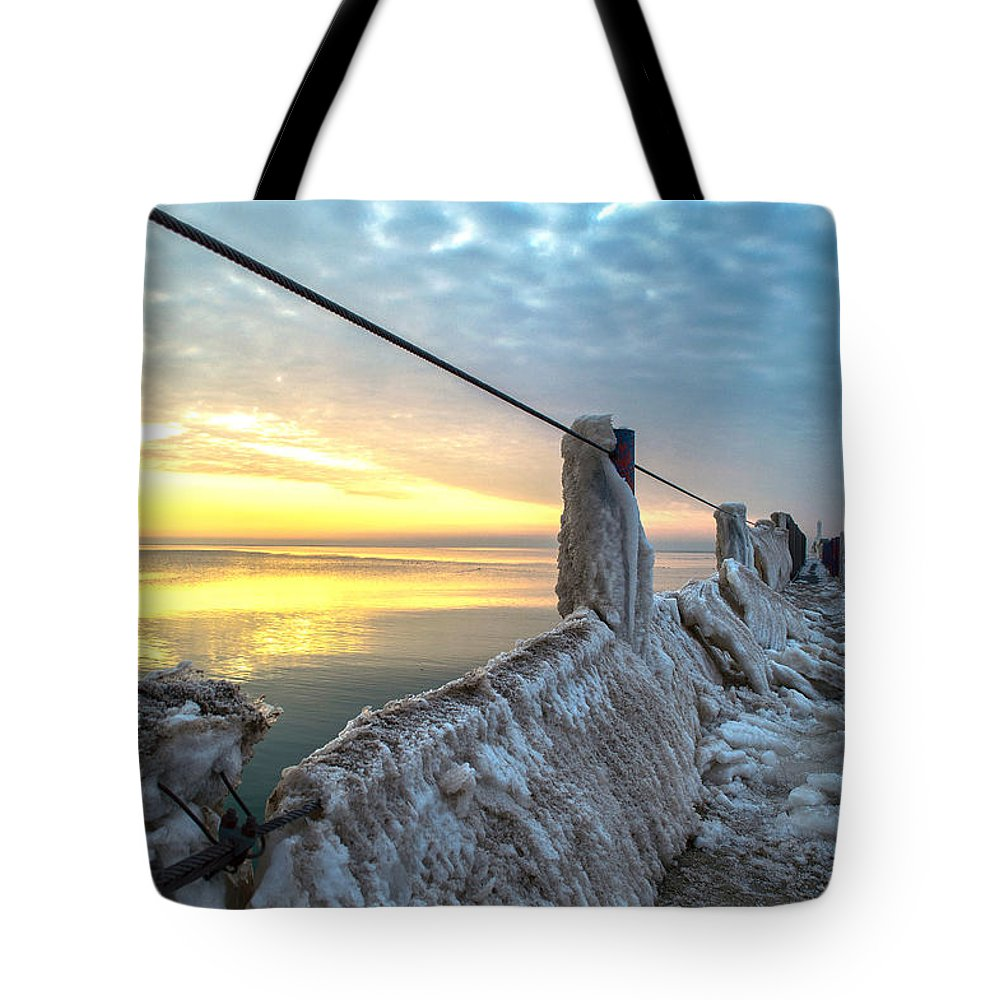 Ice Tote Bag featuring the photograph Ice Walk by James Meyer