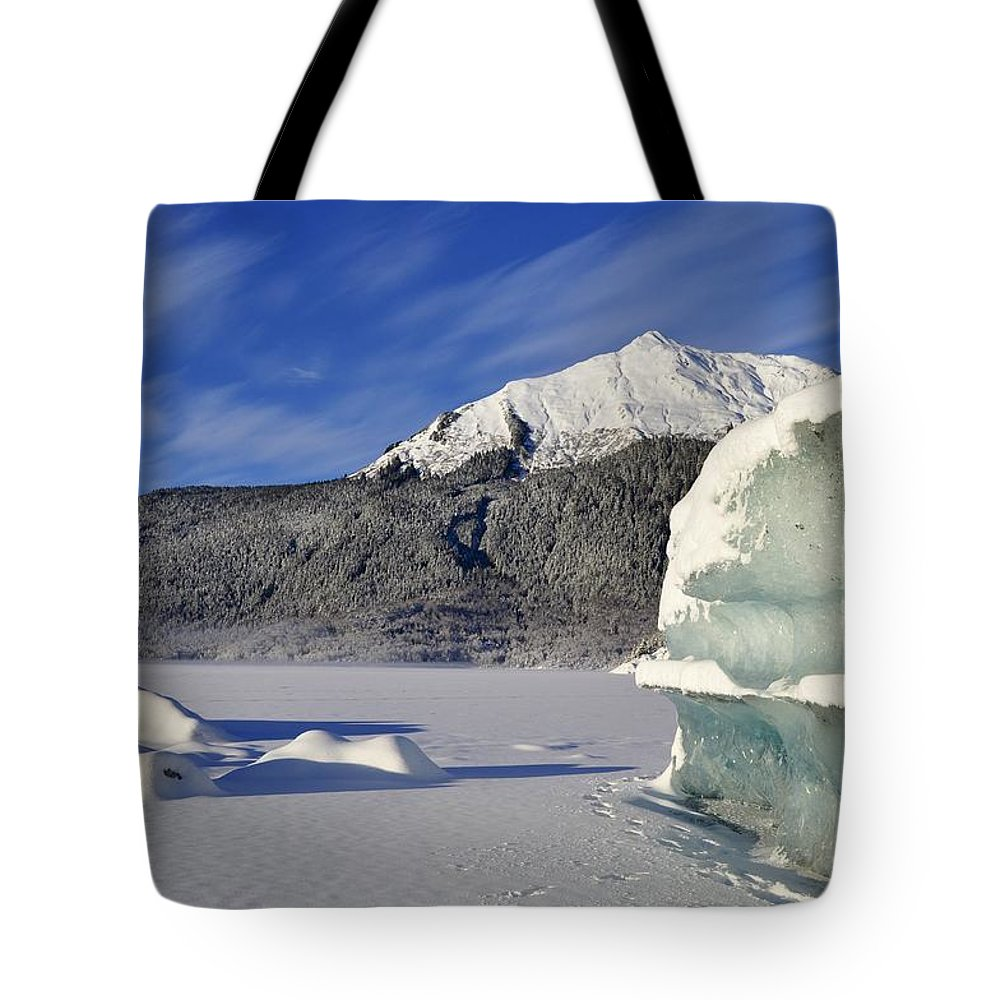 Iceberg Tote Bag featuring the photograph Iceberg And Mount Mcginnis by Cathy Mahnke