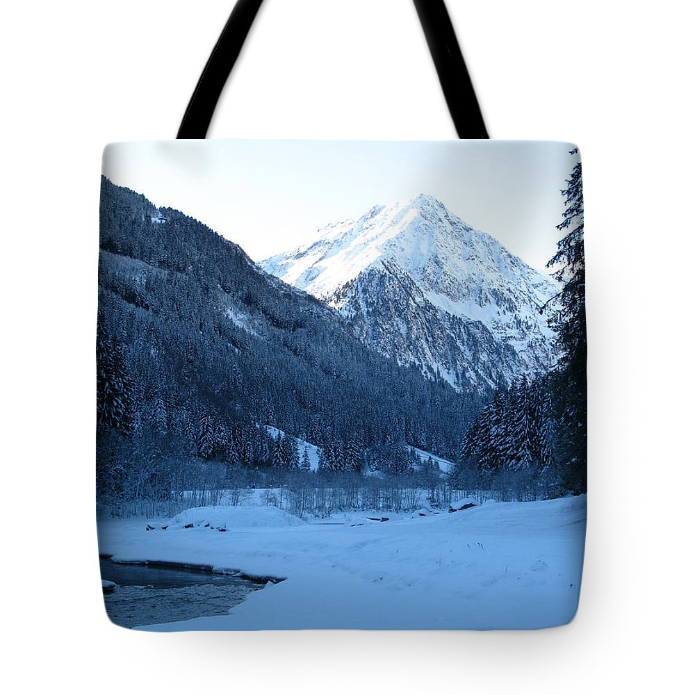 Snow Tote Bag featuring the photograph Iceblue Snow by Christiane Schulze Art And Photography