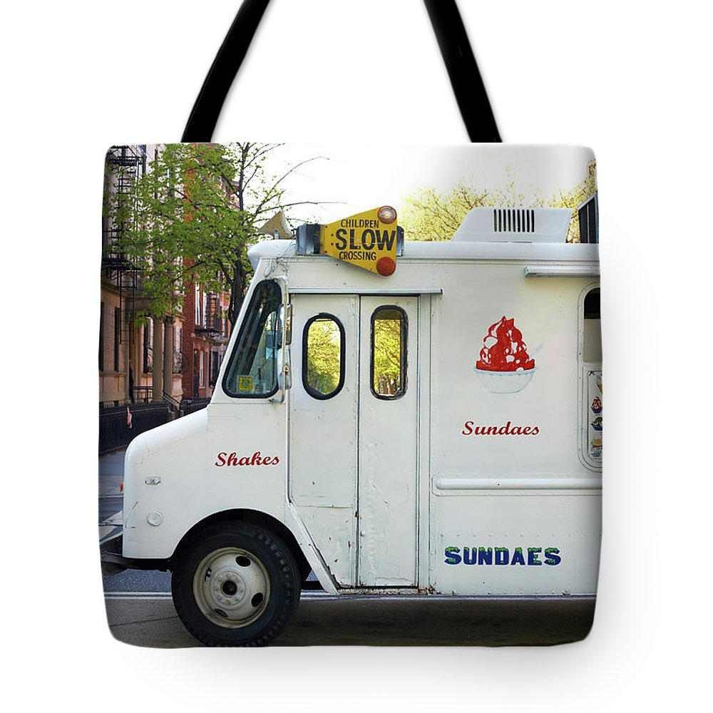 Retail Tote Bag featuring the photograph Icecream Truck On City Street by Jason Todd