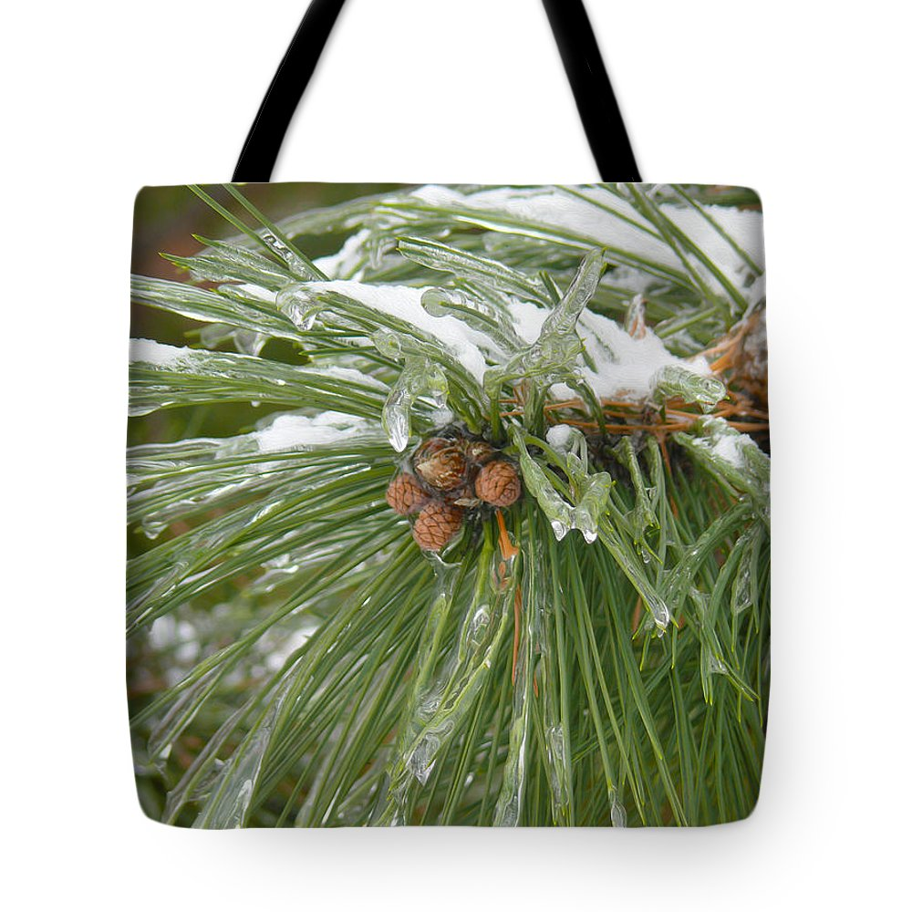 Pine Cone Tote Bag featuring the photograph Iced Over Pine Cones by Tracy Winter