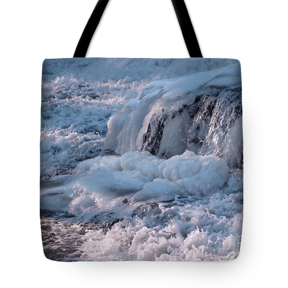 Winter Tote Bag featuring the photograph Iced Water by Ann Horn