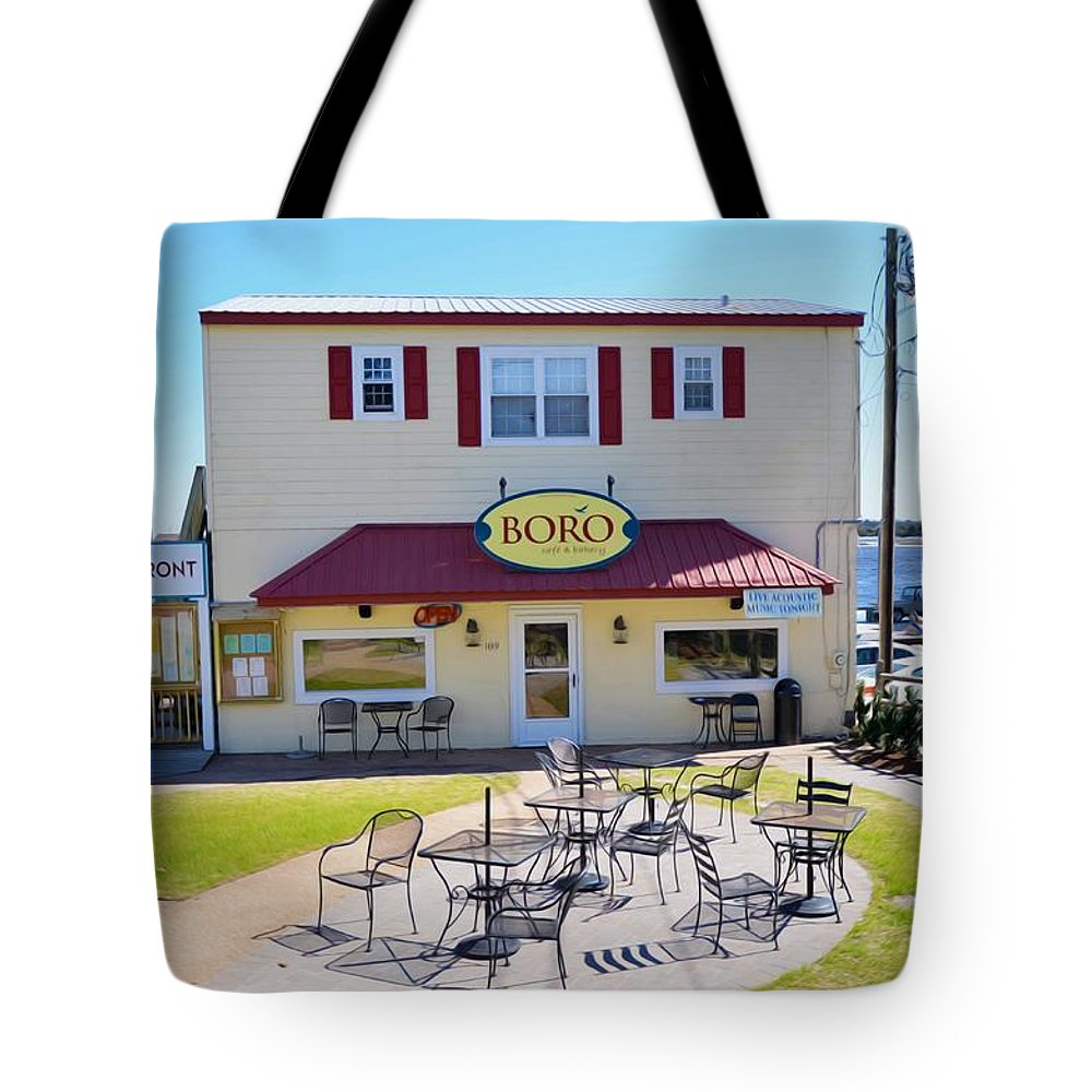 Southwold Tote Bag featuring the painting Icehouse Waterfront Restaurant 2 by Jeelan Clark