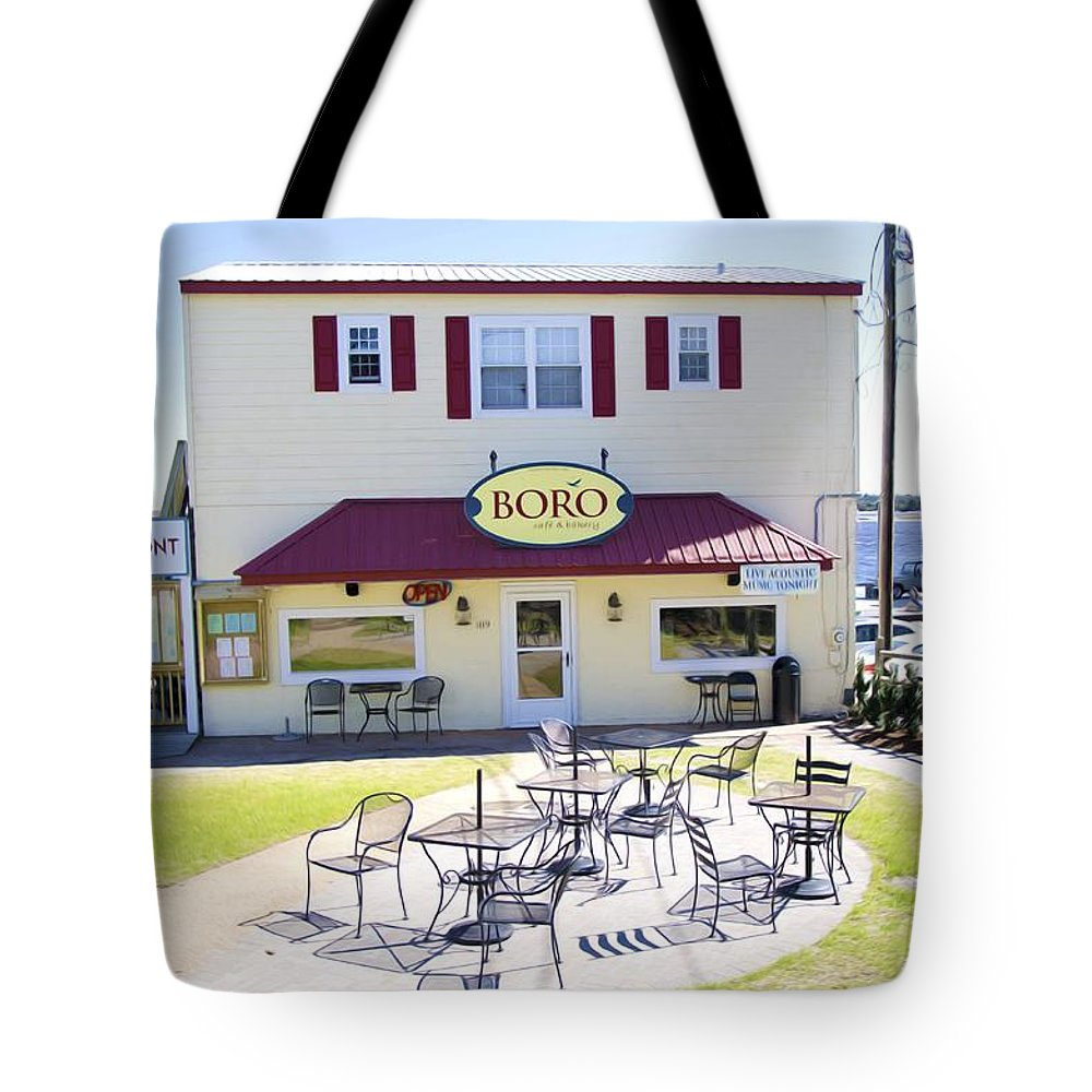Southwold Tote Bag featuring the painting Icehouse Waterfront Restaurant 3 by Jeelan Clark