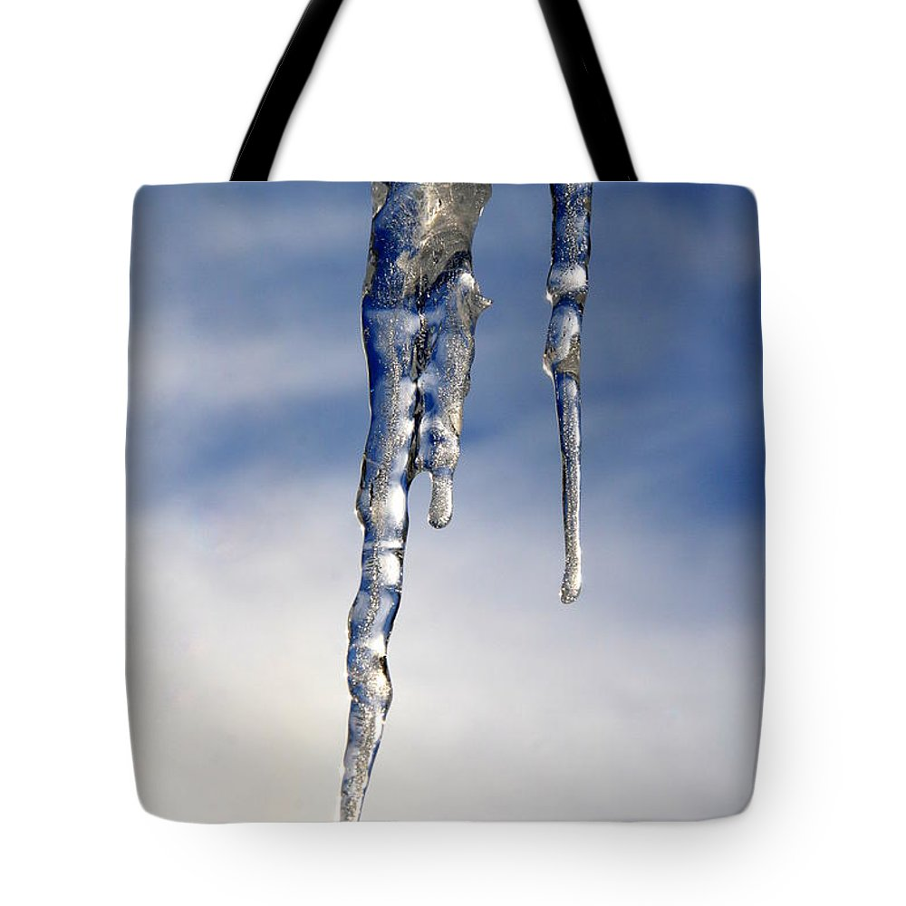 Icicle Tote Bag featuring the photograph Icicle Formation by Neal Eslinger