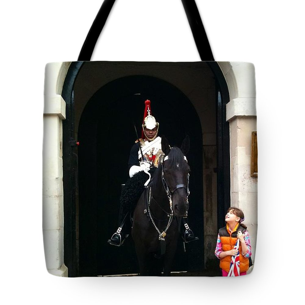 Horseman Tote Bag featuring the photograph I'd Like Your Attention by Lois Ivancin Tavaf
