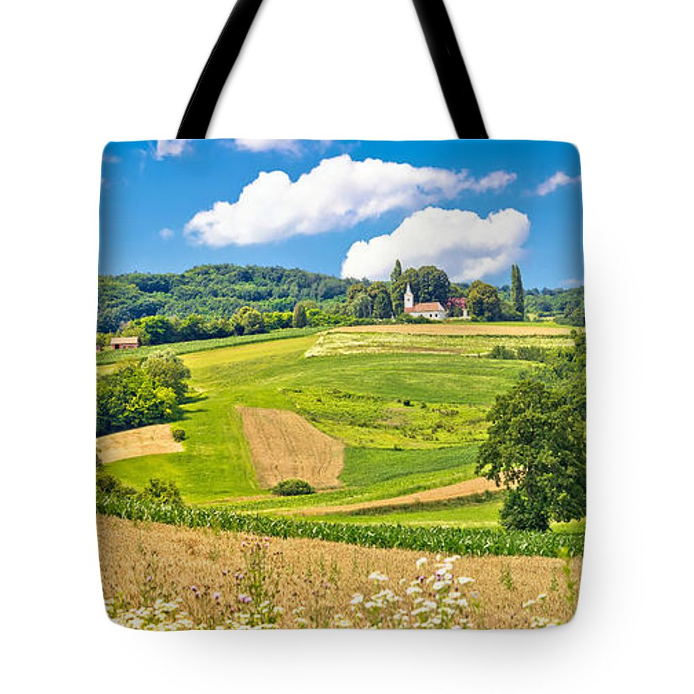 Green Tote Bag featuring the photograph Idyllic Agricultural Landscape Panoramic View by Brch Photography