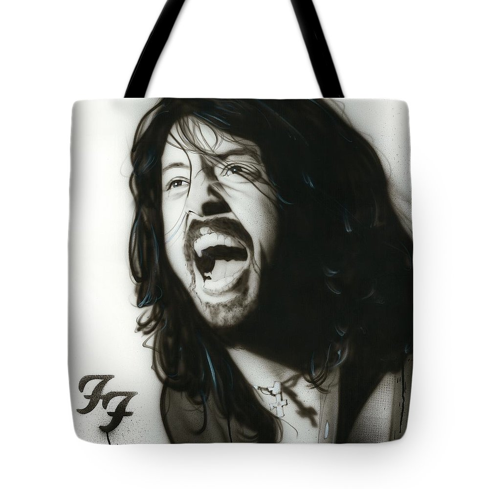 Dave Grohl Tote Bag featuring the painting If Everything Could Ever Feel This Real Forever by Christian Chapman Art