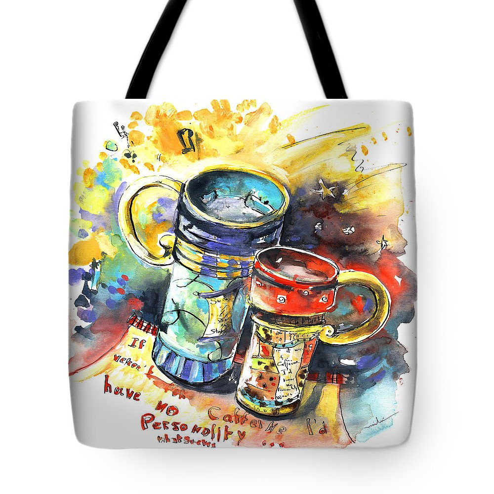 Cafe Crem Tote Bag featuring the painting If It Were Not For Caffeine by Miki De Goodaboom