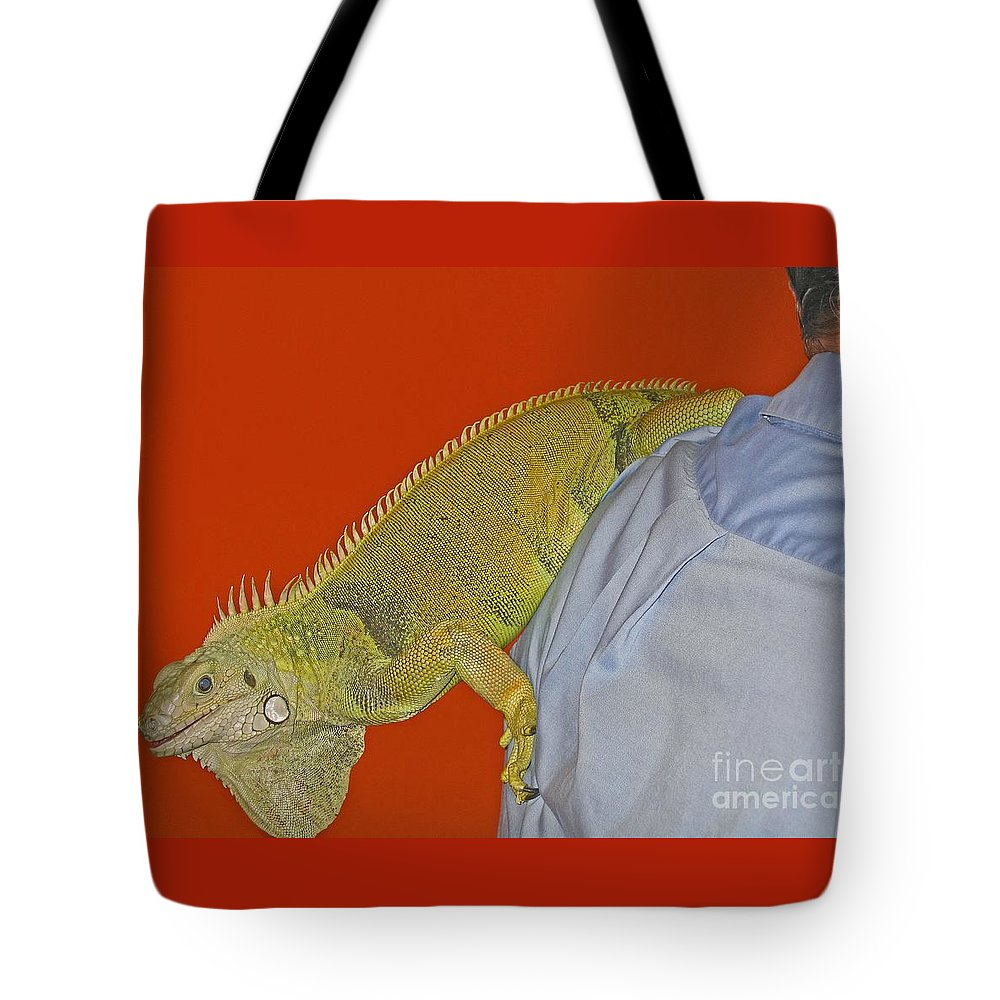 Iguana Tote Bag featuring the photograph Iguana By The Tail by Ann Horn