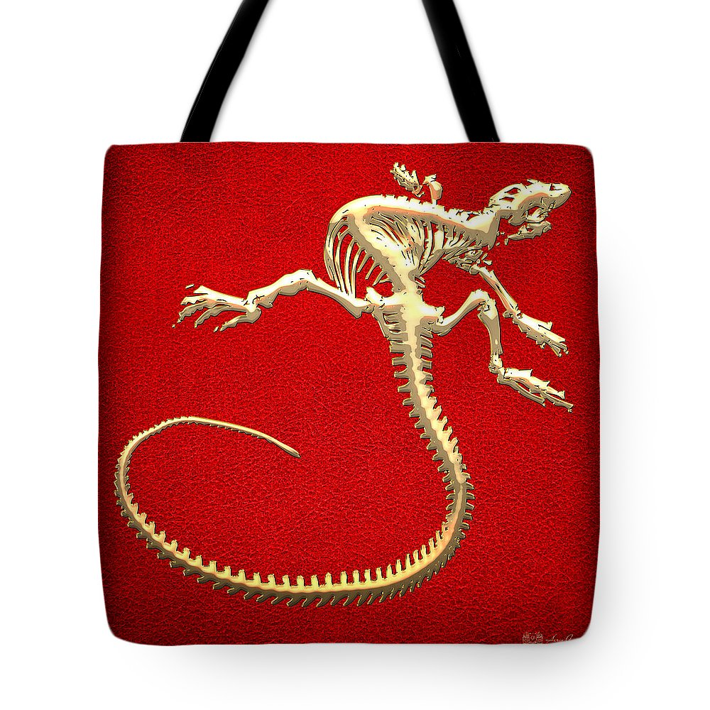 'precious Bones' Collection By Serge Averbukh Tote Bag featuring the digital art Iguana Skeleton In Gold On Red by Serge Averbukh