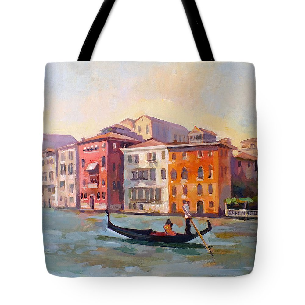 Venice Tote Bag featuring the painting Il Gondoliere by Filip Mihail