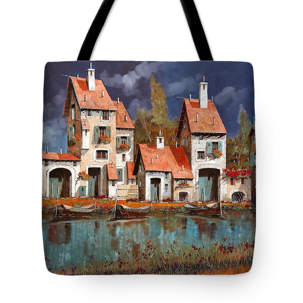 Village Tote Bag featuring the painting Il Villaggio Sul Lago by Guido Borelli
