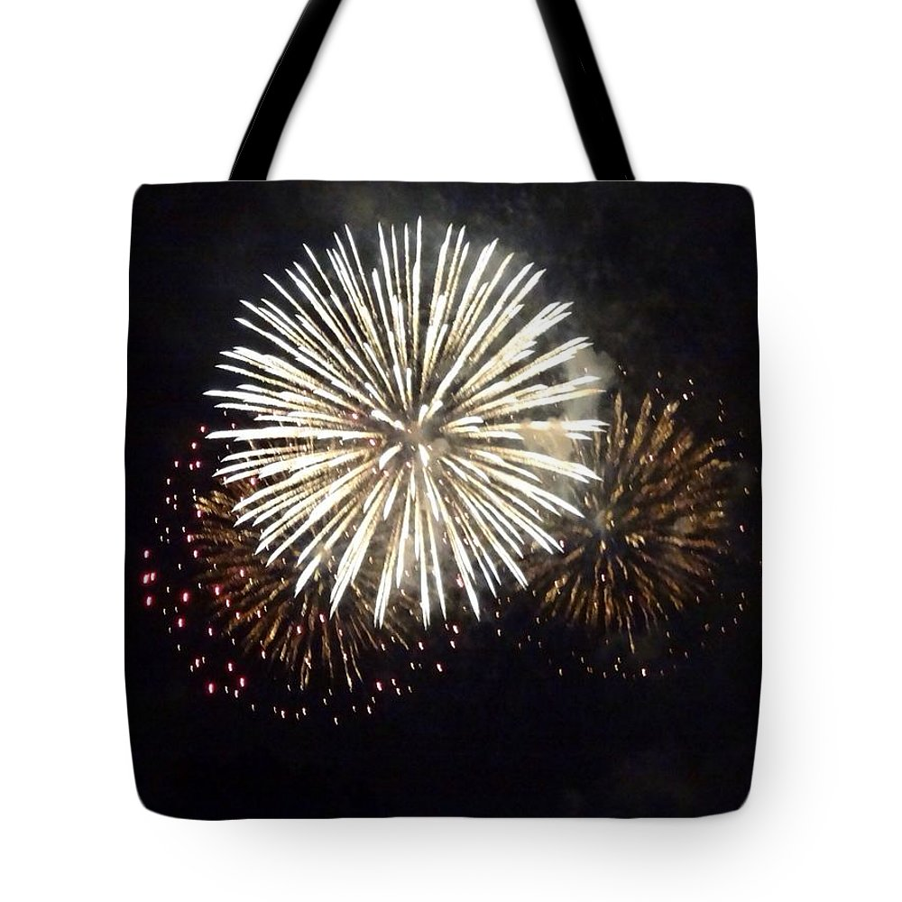 Event Tote Bag featuring the photograph Illuminated Firework Display Against by Daniel Schild / Eyeem
