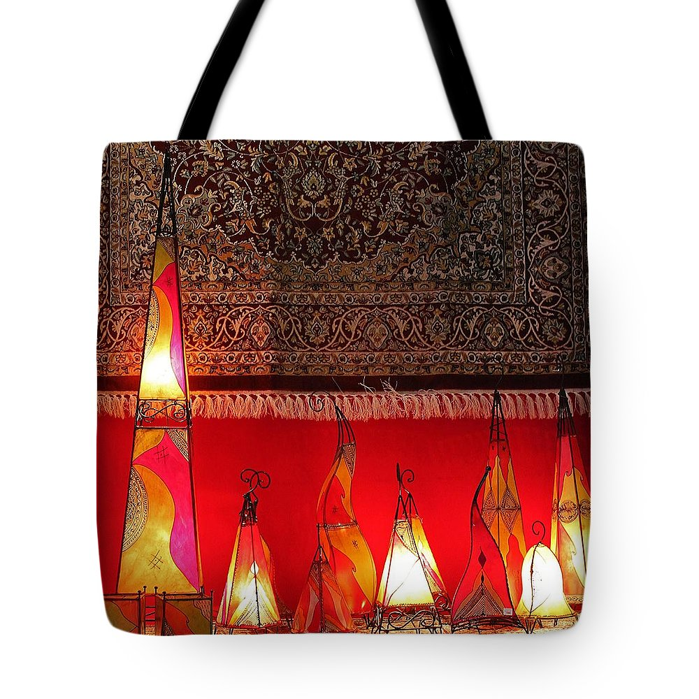 Lights Tote Bag featuring the photograph Illuminated Lights by Michael Saunders