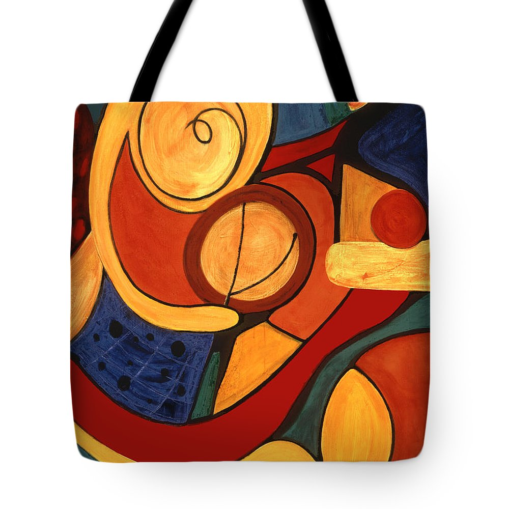 Abstract Art Tote Bag featuring the painting Illuminatus 3 by Stephen Lucas