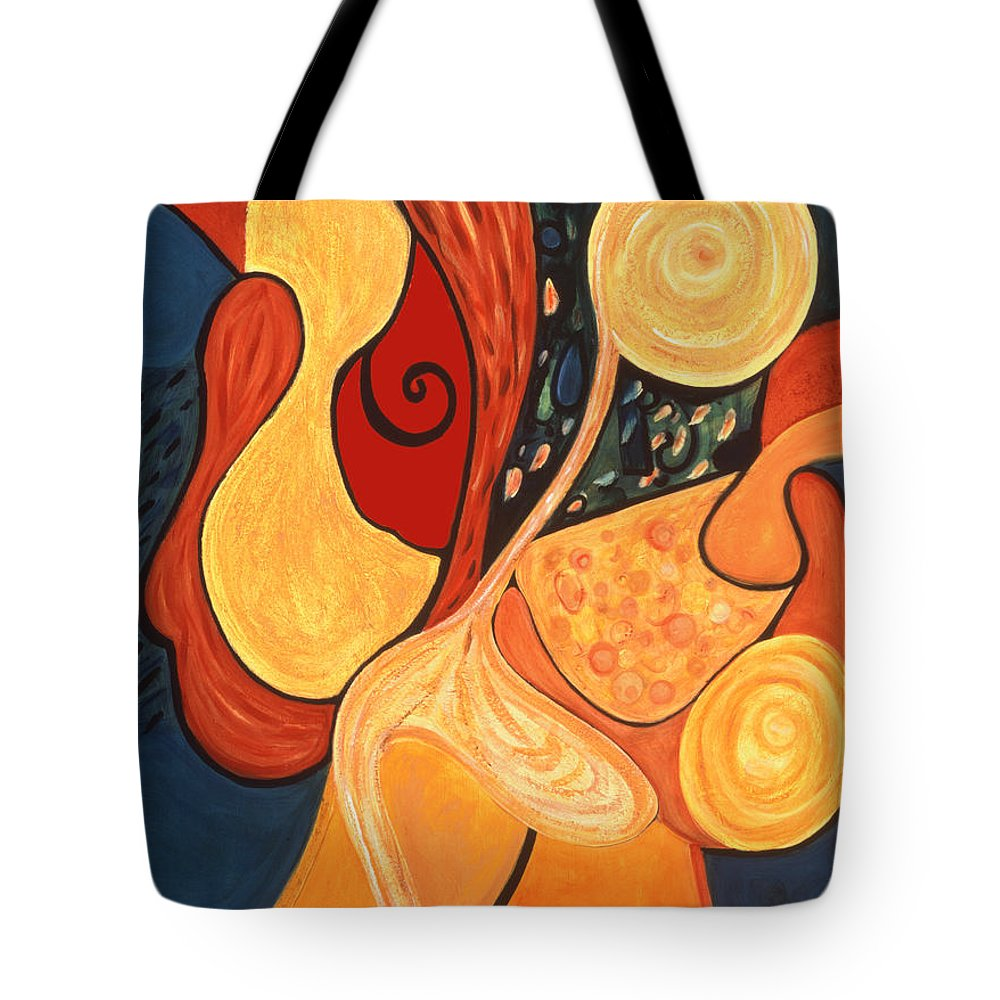 Abstract Art Tote Bag featuring the painting Illuminatus 4 by Stephen Lucas