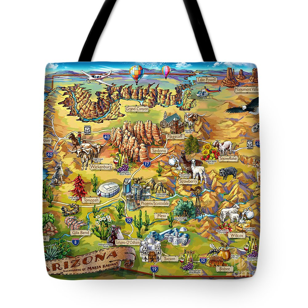 Arizona Map Tote Bag featuring the painting Illustrated Map Of Arizona by Maria Rabinky