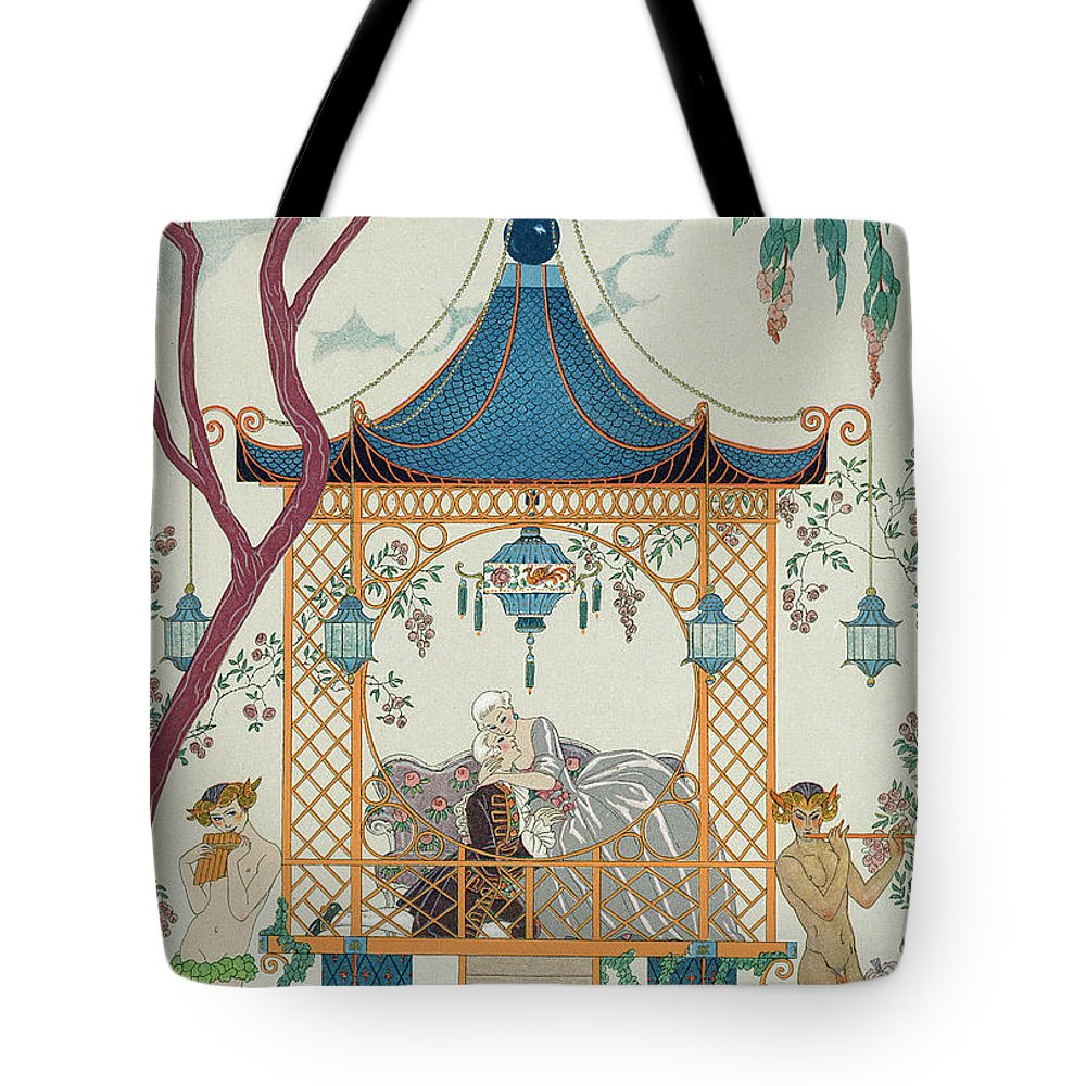 Gazebo Tote Bag featuring the painting Illustration For 'fetes Galantes' by Georges Barbier