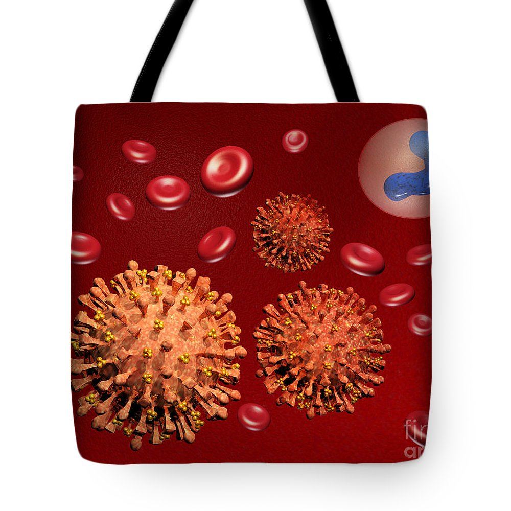 Disease Tote Bag featuring the photograph Illustration Of Influenza by Scott Camazine