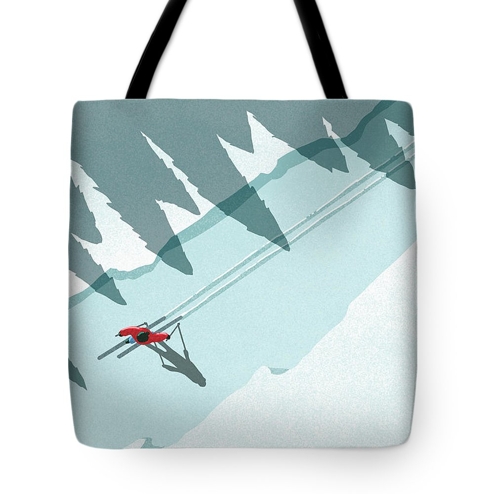 Ski Pole Tote Bag featuring the digital art Illustration Of Man Skiing During by Malte Mueller