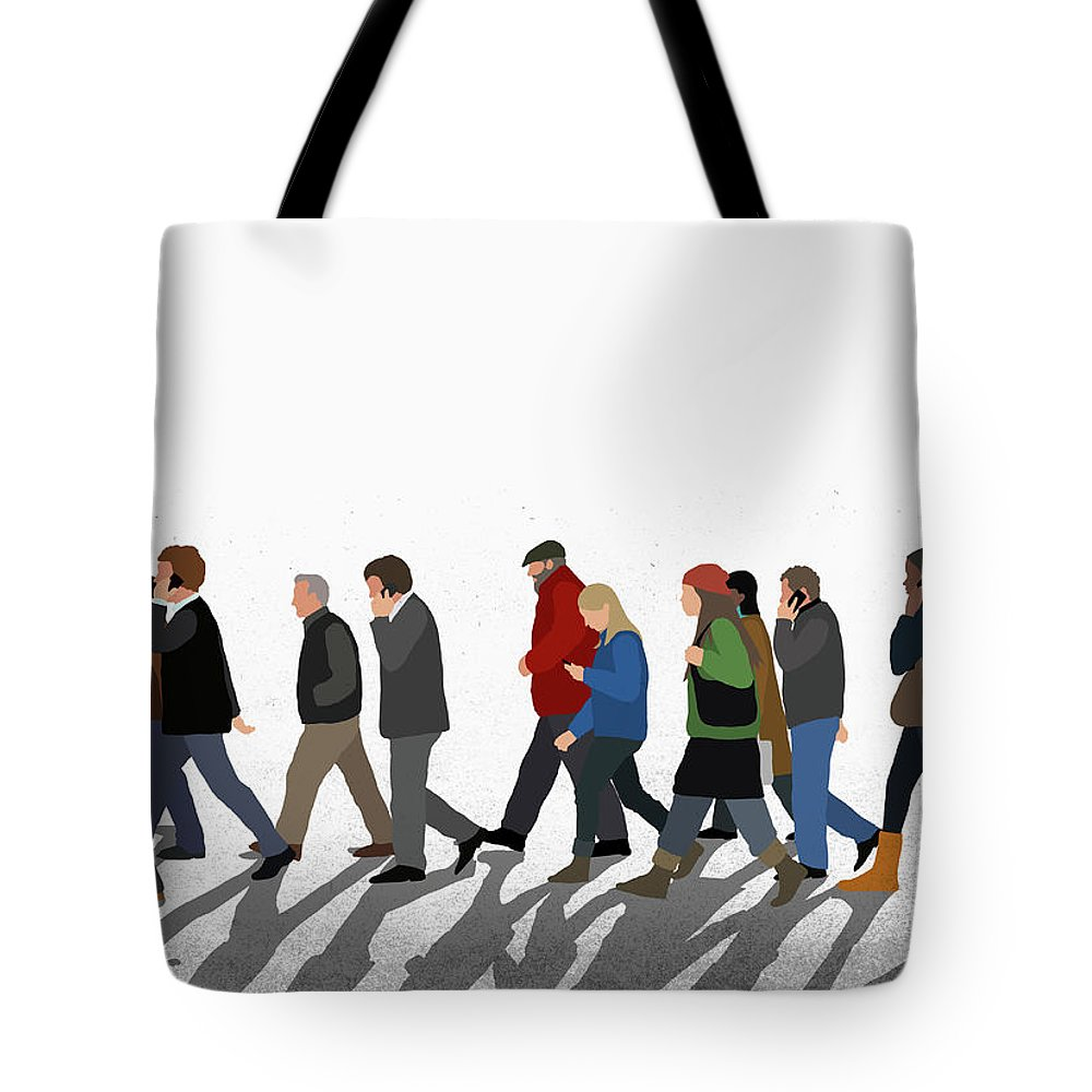 Shadow Tote Bag featuring the digital art Illustration Of People Walking On by Malte Mueller