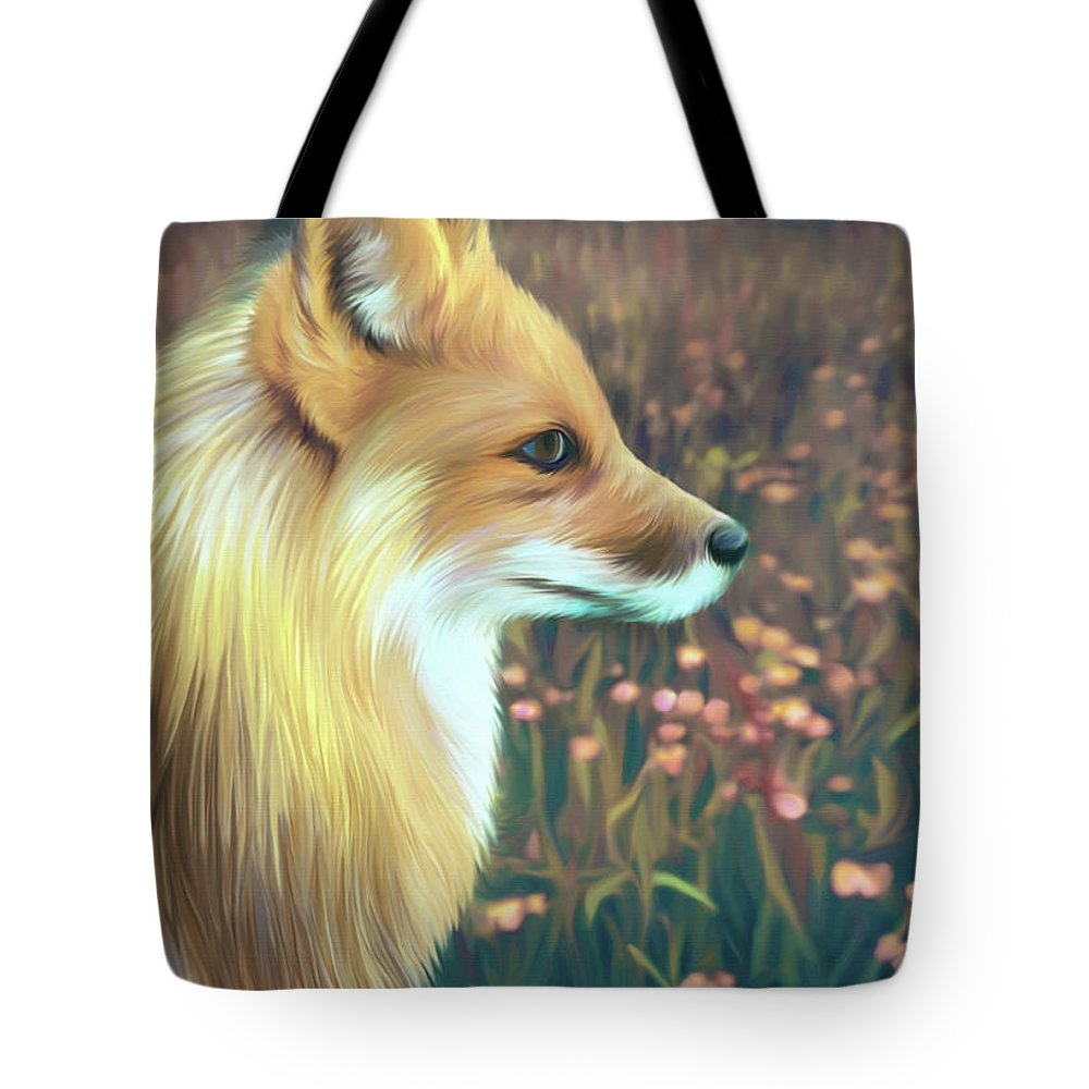 Grass Tote Bag featuring the digital art Illustration Of Red Fox by Illustration By Shannon Posedenti