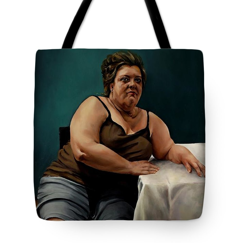 Voluptuous Woman Tote Bag featuring the painting I'm Still Waiting To Sing by Jolante Hesse