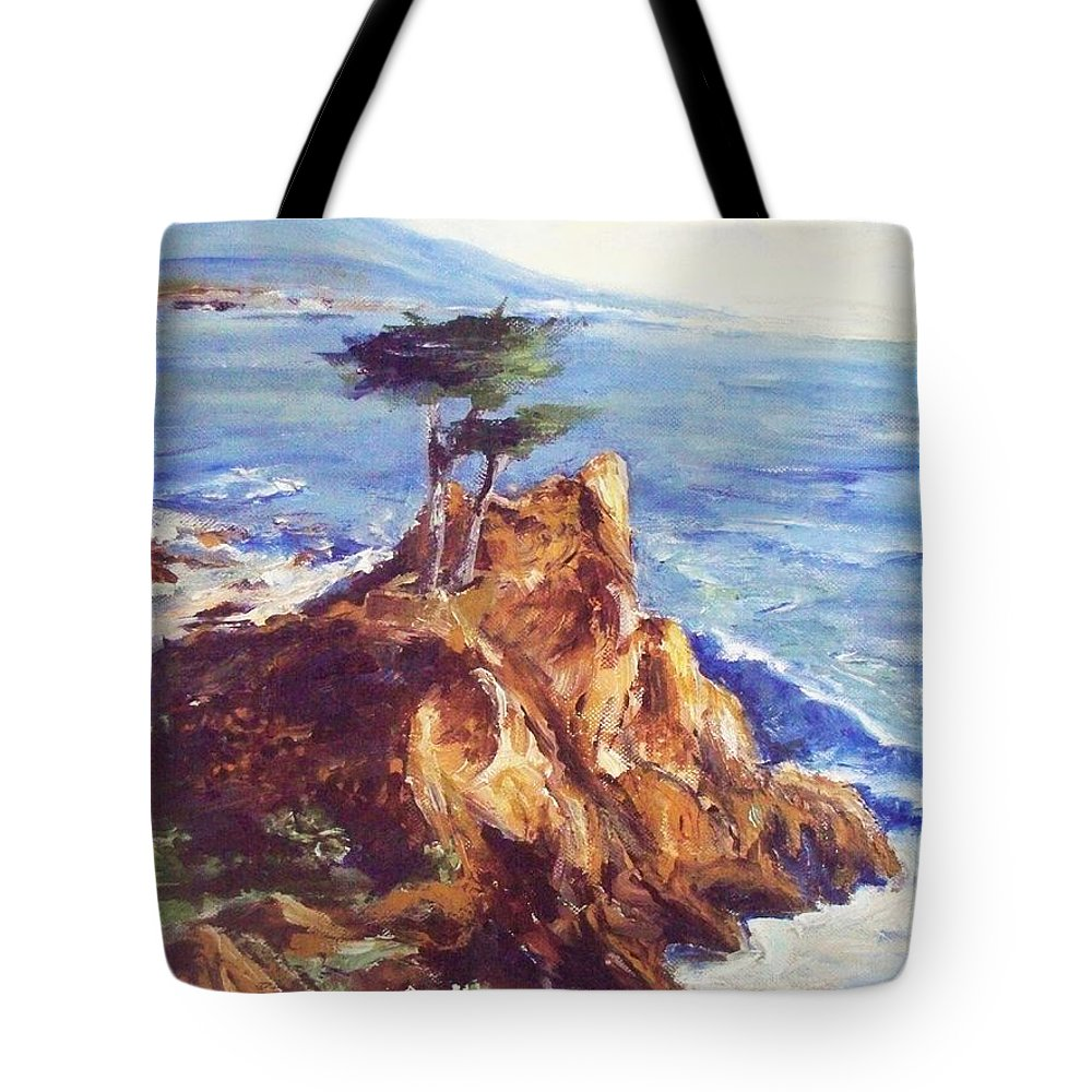 Seascape Tote Bag featuring the painting Imaginary Cypress by Eric Schiabor