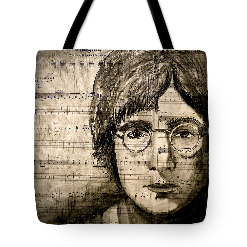 Imagine Tote Bag featuring the drawing Imagine by Debi Starr