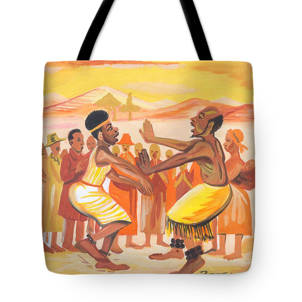 Barry Art Tote Bag featuring the painting Imbiyino Dance From Rwanda by Emmanuel Baliyanga