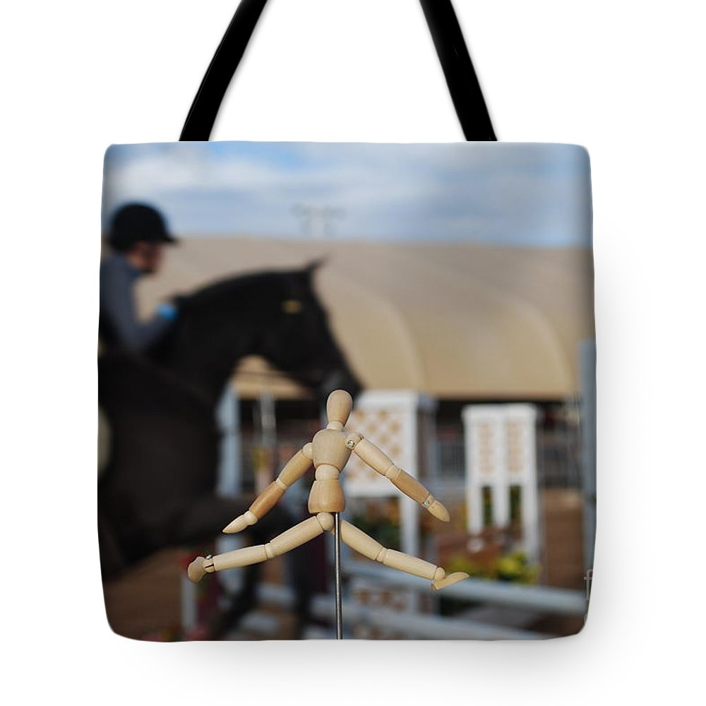 Horse Tote Bag featuring the photograph Imitation Jumper by Heather Kirk