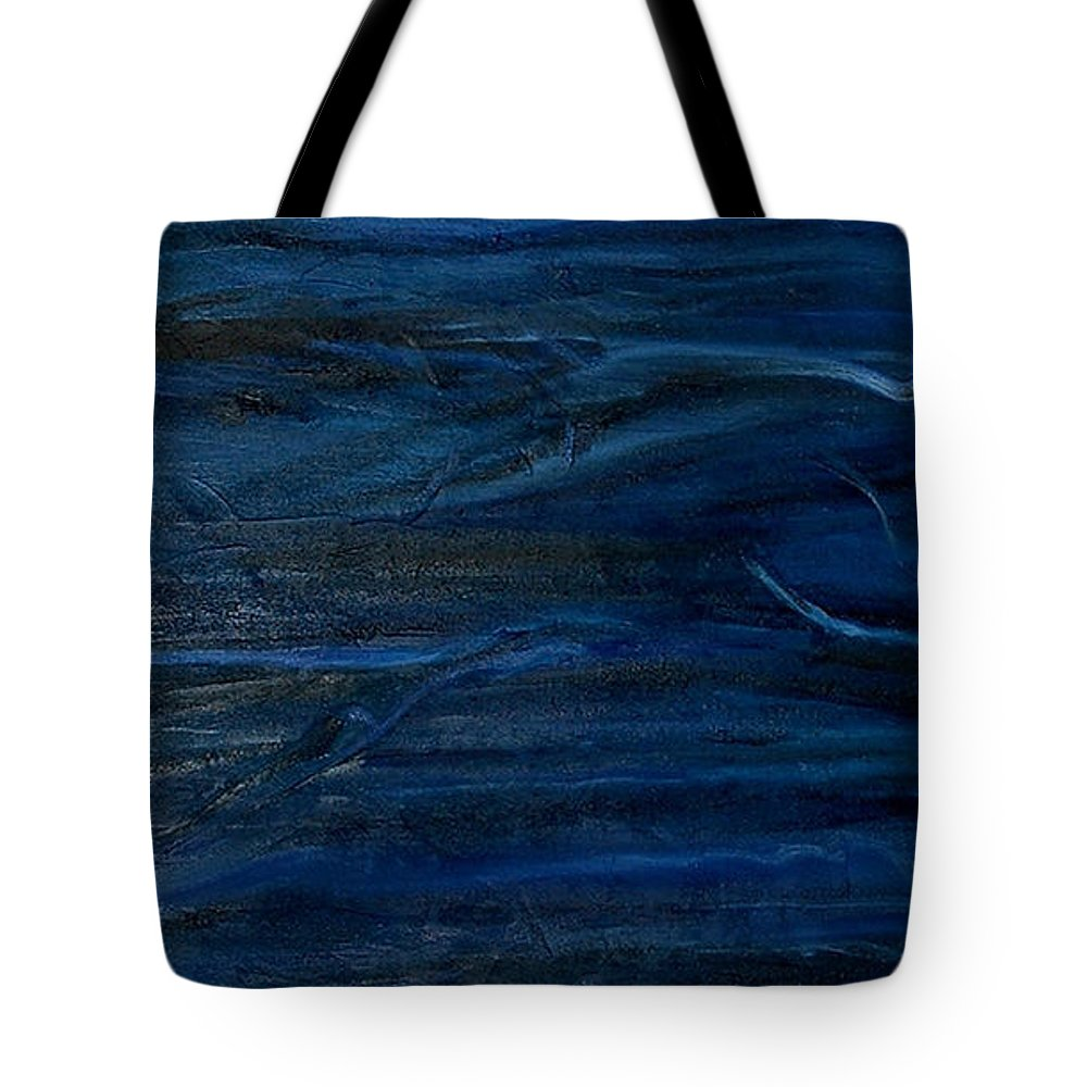 Abstract Tote Bag featuring the painting Immense Blue by Silvana Abel