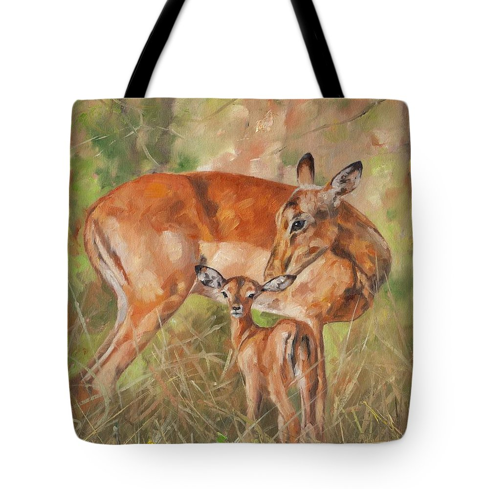 Impala Tote Bag featuring the painting Impala Antelop by David Stribbling